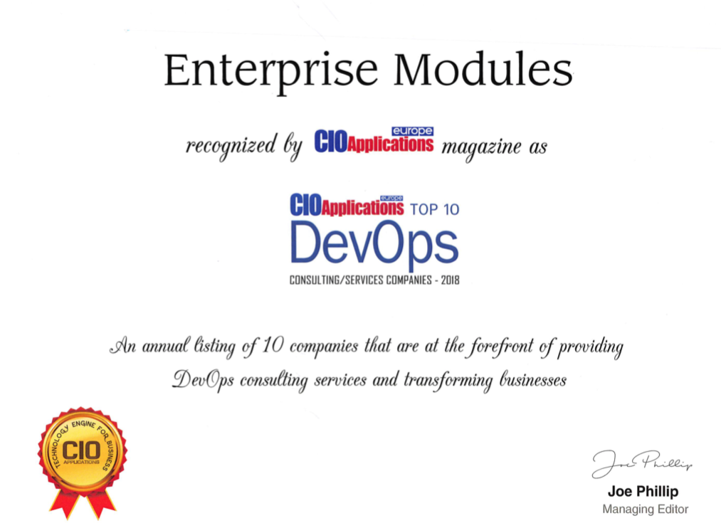 Enterprise Modules in top 10 best DevOps companies 2018